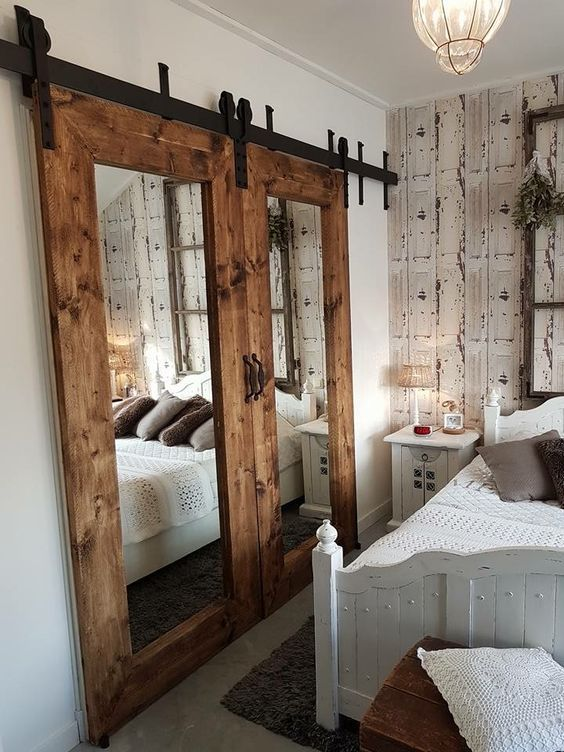 Oversized Door with Mirror - Rustic bedroom ideas