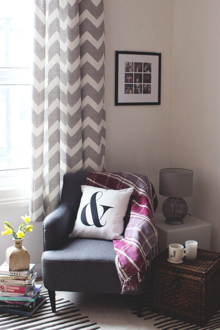 Chevron Pattern Curtain with Two Calm Hues