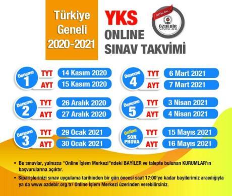 ozdebir online deneme tarihleri 2021 Türkiye Geneli Online Deneme Sınavı 2021 YKS