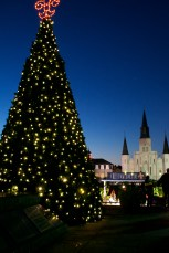 Christmas tree and St. Louis Cathedral