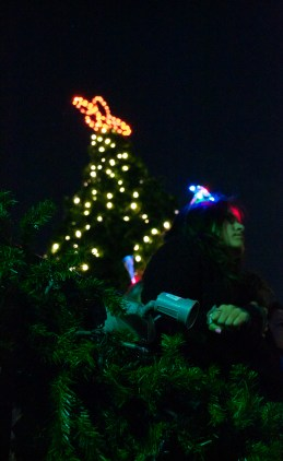 The girl under the Christmas Tree