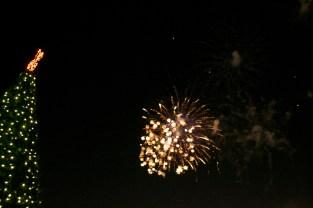 Fireworks illuminate the sky exactly at midnight