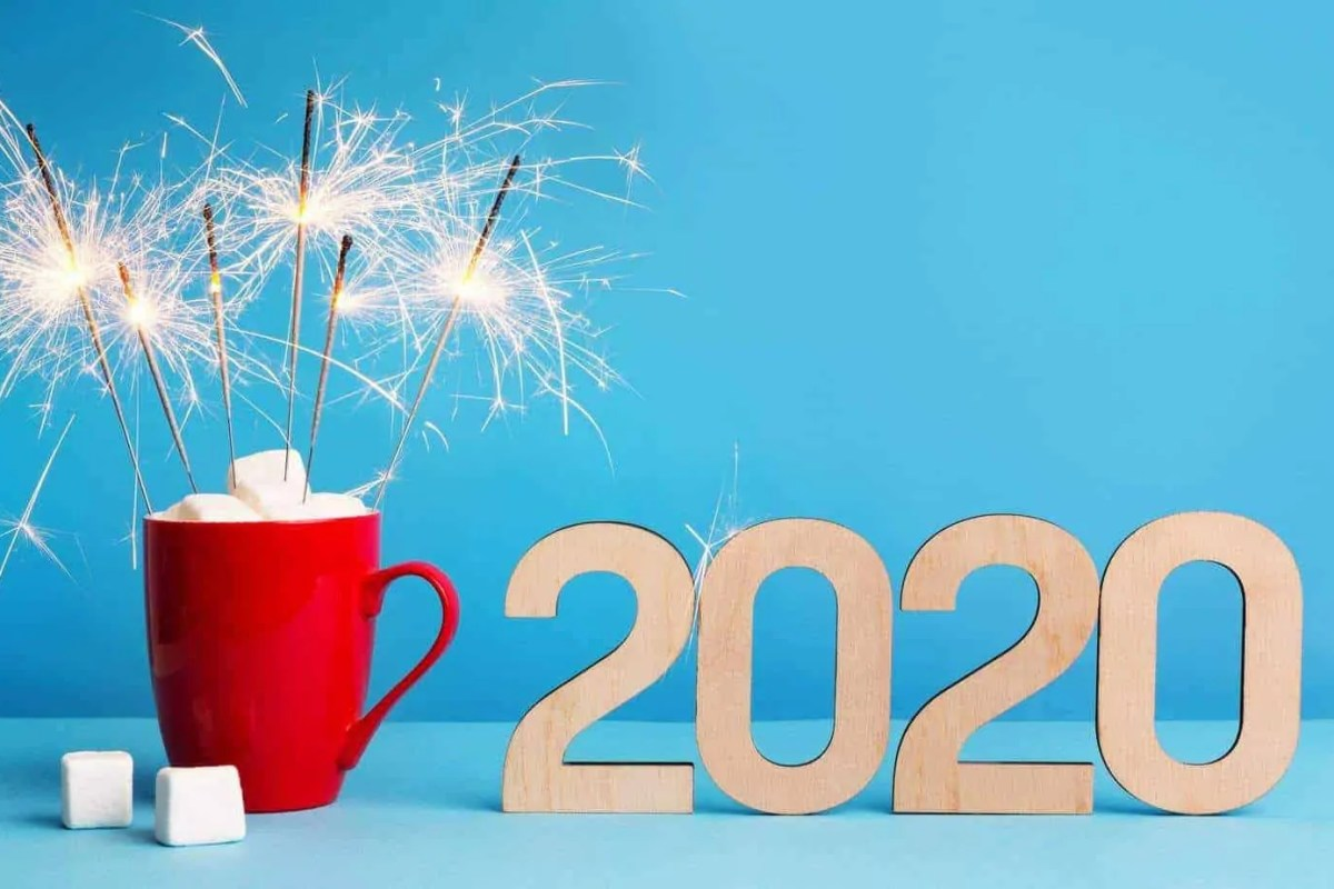 New 2020 year with cocoa, marshmallows and sparklers