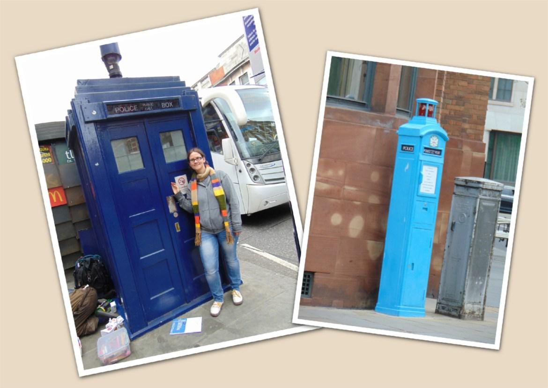 SOS-Katharina und die TARDIS (links), eine etwas andere Police Box (rechts)