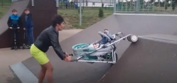 Пьяная яжемать чуть не угробила ребенка в скейт-парке