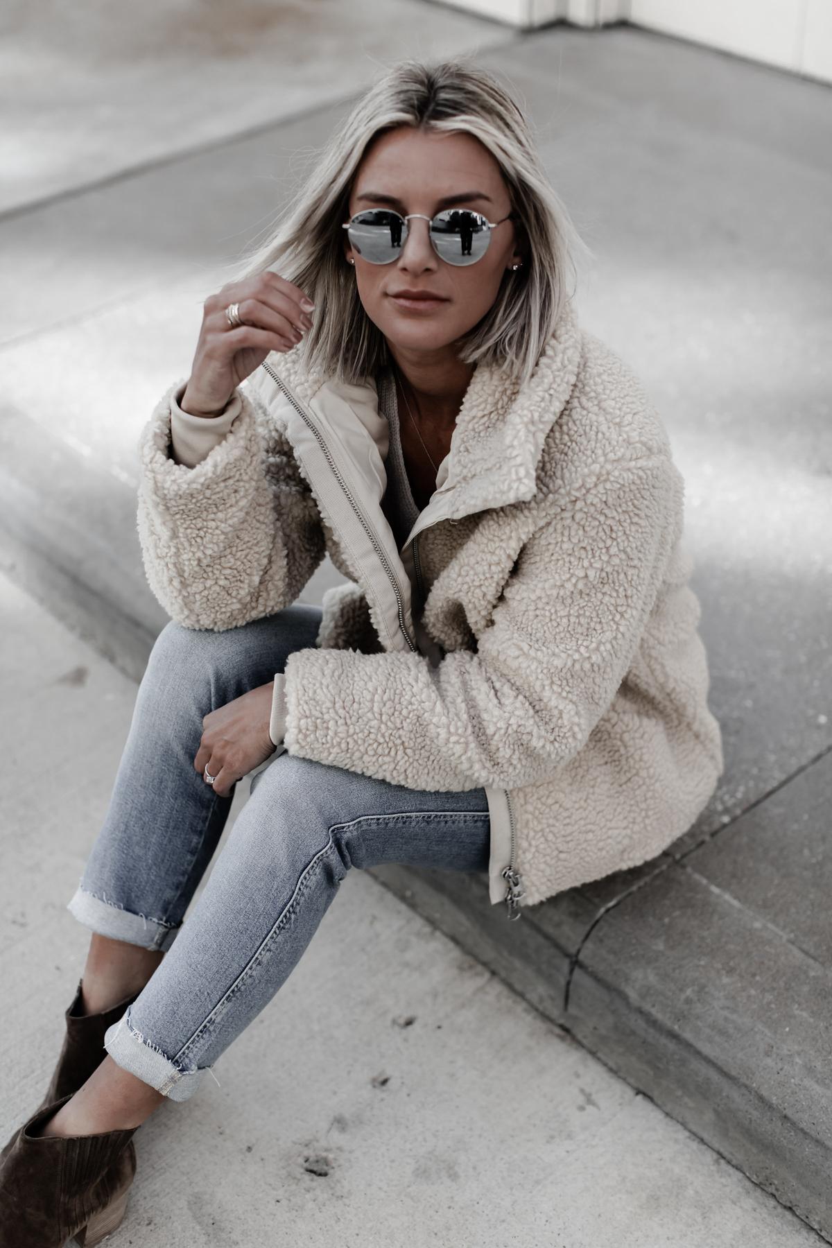 pile zip up jacket on Sage Coralli of So Sage Blog