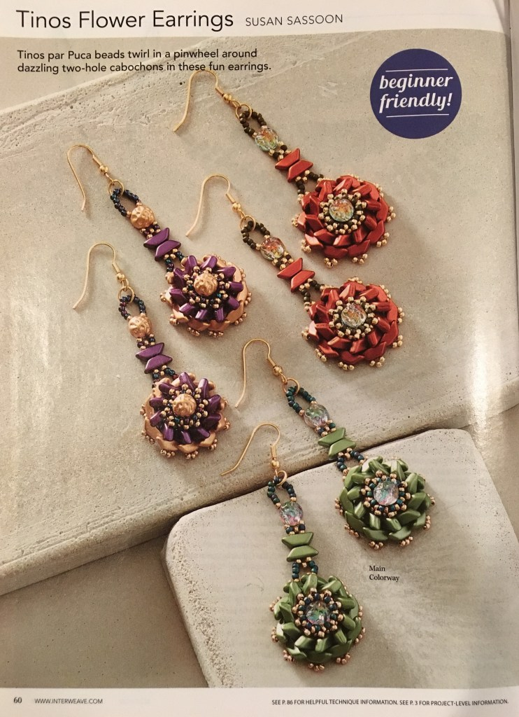 Beadwork Magazine Oct/Nov 2018: Tinos Flower Earrings