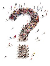Large group of people with questions