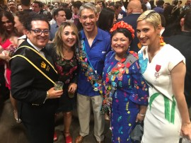 The medals are worn during Fiesta week. Here we were at a party with the Mayor Ron Niremberg and his wife, Erika Prosper, and my friend Olivia Ortiz.