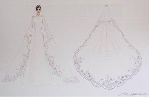 meghan markle bride dress sketch