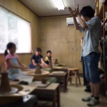 夏休み子供陶芸 ろくろ教室