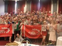 Delegasi dari Faksi Pertahanan Kelas Pekerja Trotskyis CWI