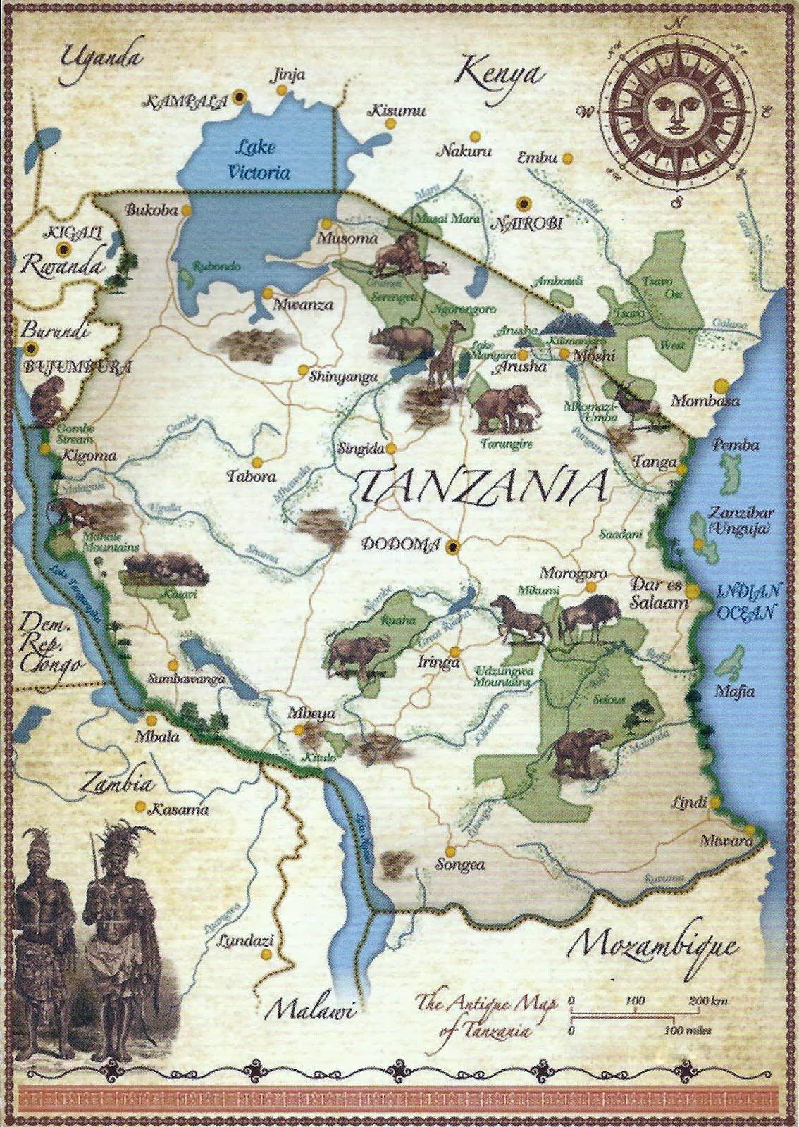 الخريطة السياحية المفصلة والموضحة لخريطة تنزانيا