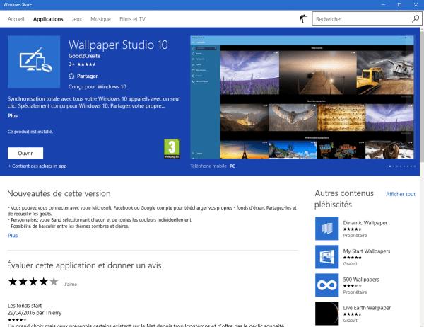 Wallpaper Studio 10 avec Windows 10, par Thierry. - Sospc