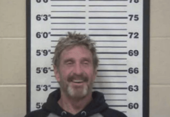 John McAfee was arrested in Tennessee last month for driving under the influence with a handgun.