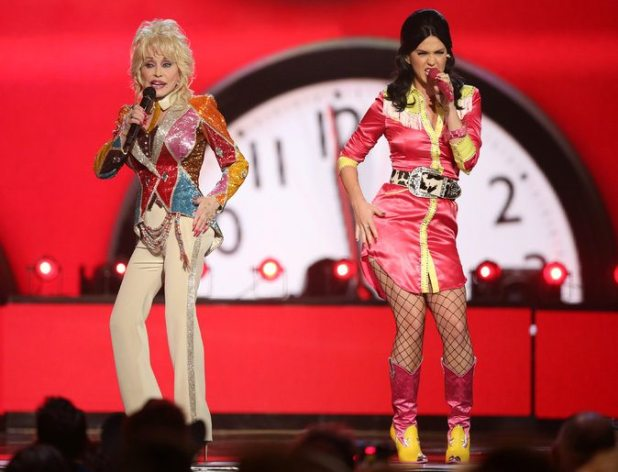 "Dolly Parton, left, and Katy Perry, performing ""Coat of Many Colors"" at the 51st Academy of Country Music Awards in Las Vegas on Sunday. Credit"