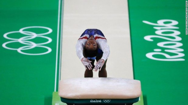 Biles led from the first event after an impressive vault.