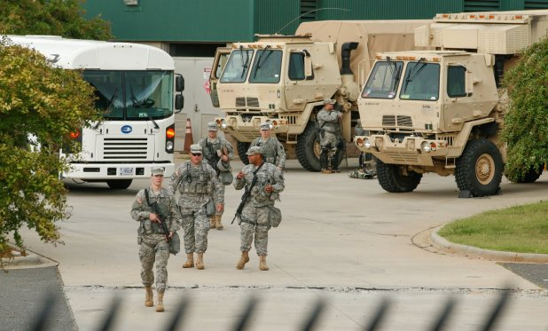 National Guard troops assembling on Thursday after Gov. Pat McCrory of North Carolina declared a state of emergency. Jason Miczek/Reuters