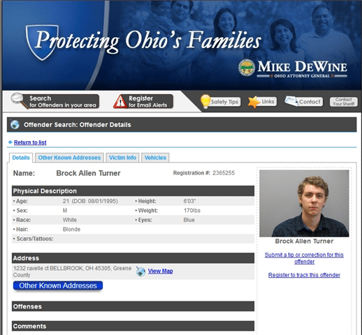 A screen grab of Brock Turner's sex offender registration from Ohio.