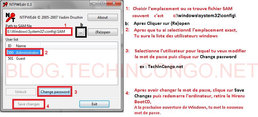 NTPWEdit Comment Réinitialiser un mot de passe oublié sous windows 10, 8, 7