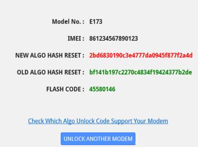 Resultats reset new algo 400x298 Générer le code de réinitialisation du compteur de déblocage pour le modem Huawei (NEW/OLD ALGO HASH RESET)