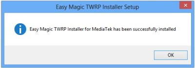 TWRP Installer successfully 400x140 Comment Installer TWRP recovery sur un Smartphone Android Mediatek