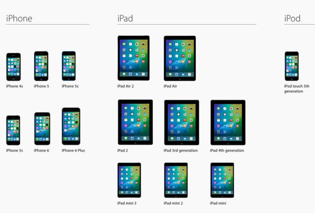 Appareils compatibles iOS 9