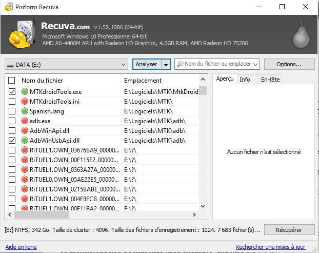 Recuperation fichiers en cours