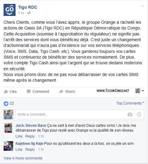 Message de Tigo RDC sur le rachat par Orange Orange rachète Tigo RDC : Se débarrasser d'une carte SIM?