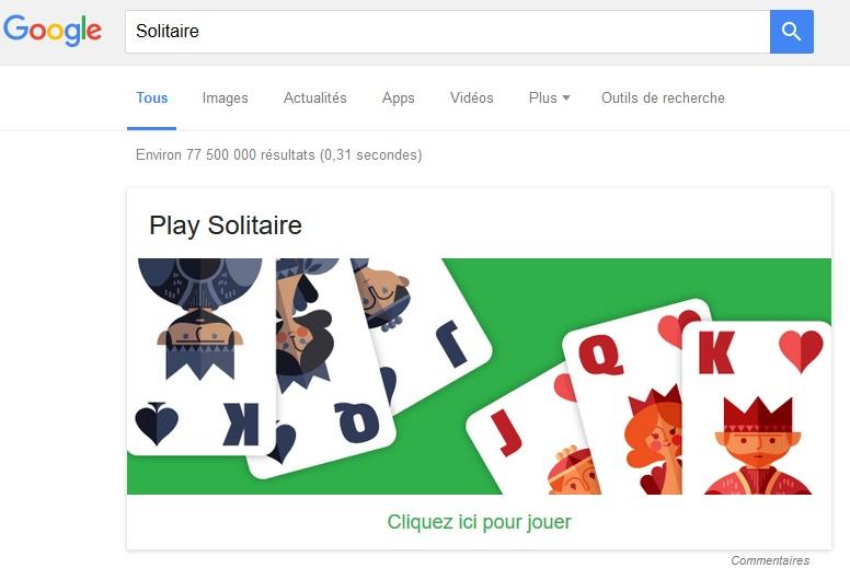 Solitaire Top 5 Jeux cachés dans le moteur de recherche Google