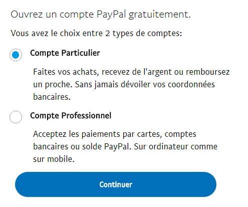 types de comptes paypal Comment créer un compte Paypal en Afrique gratuitement