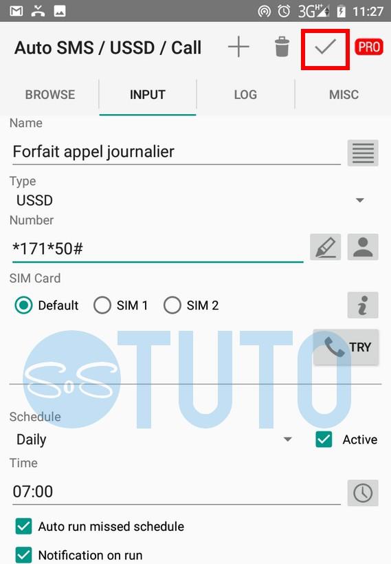 Auto SMS USSD Call Comment renouveler automatiquement un forfait mobile sur Android