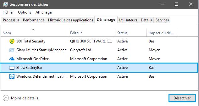 Dsactiver programme dans gestionnaire des taches Désactiver l'exécution automatique d'un programme au démarrage de Windows 10/8/7