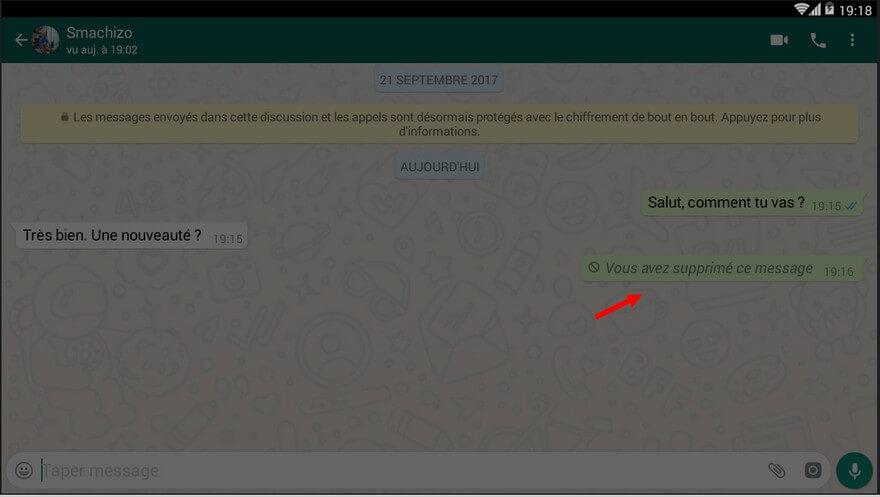 message WhatsApp supprimé Comment supprimer un message WhatsApp envoyé par erreur