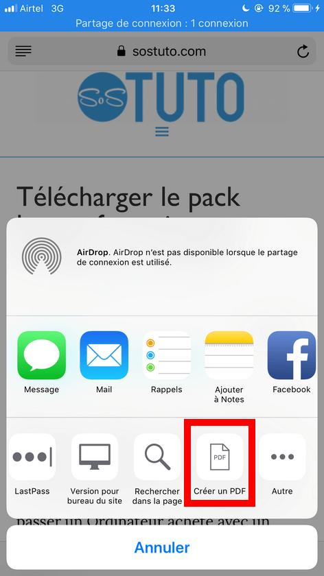 Creer un PDF dans Safari Enregistrer une page web au format PDF sur iPhone dans iOS 11