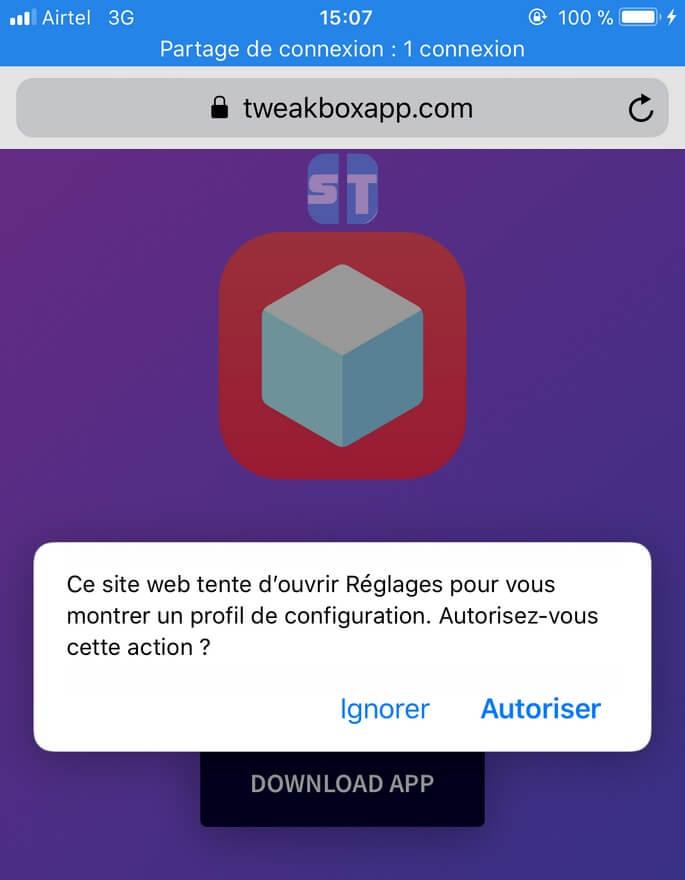 Autoriser Profil Tweakbox 1 Télécharger et installer TweakBox sans Jailbreak iOS 11 / iOS 10