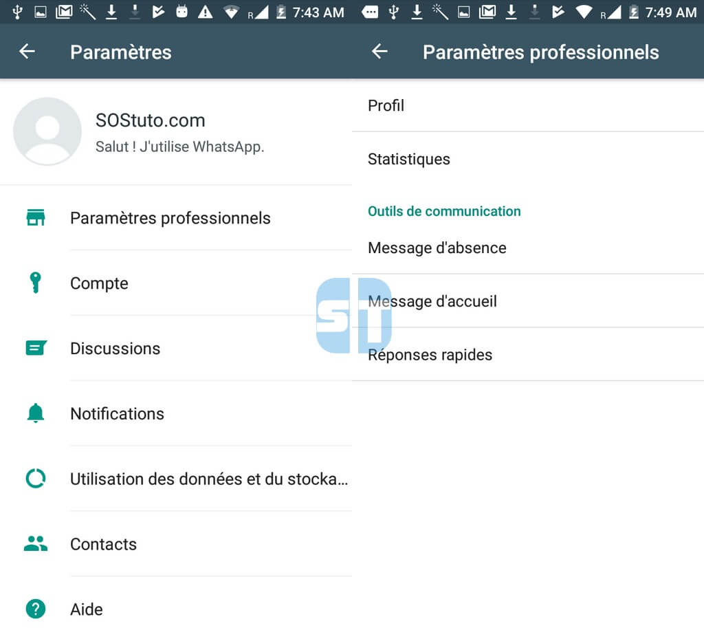 Parametres professionnels whatsapp business 1024x913 Télécharger WhatsApp Business pour Android + Comment l'utiliser