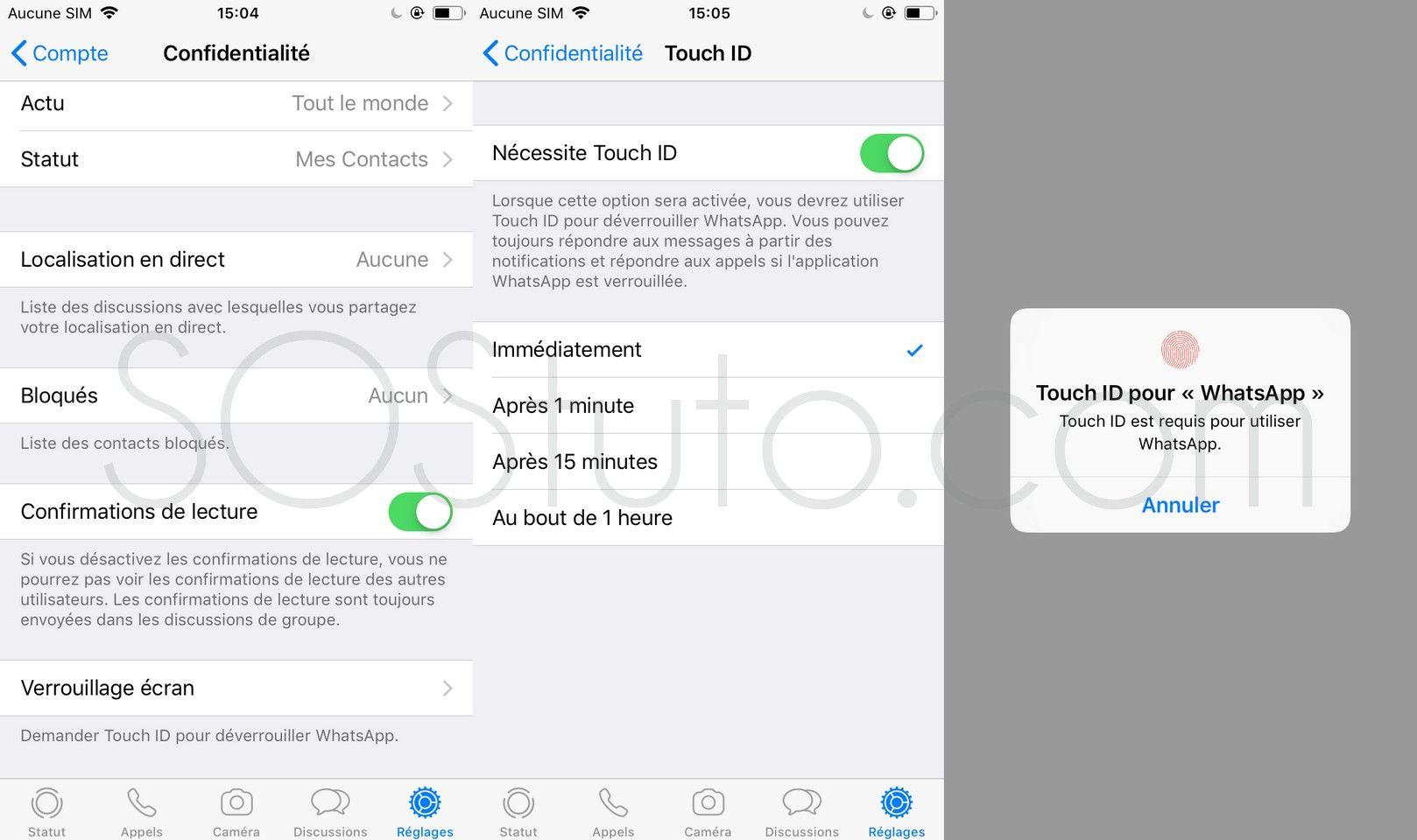 Touch ID Face ID pour WhatsApp 2 Méthodes pour Protéger WhatsApp sur iPhone avec mot de passe ou Touch ID ou Face ID