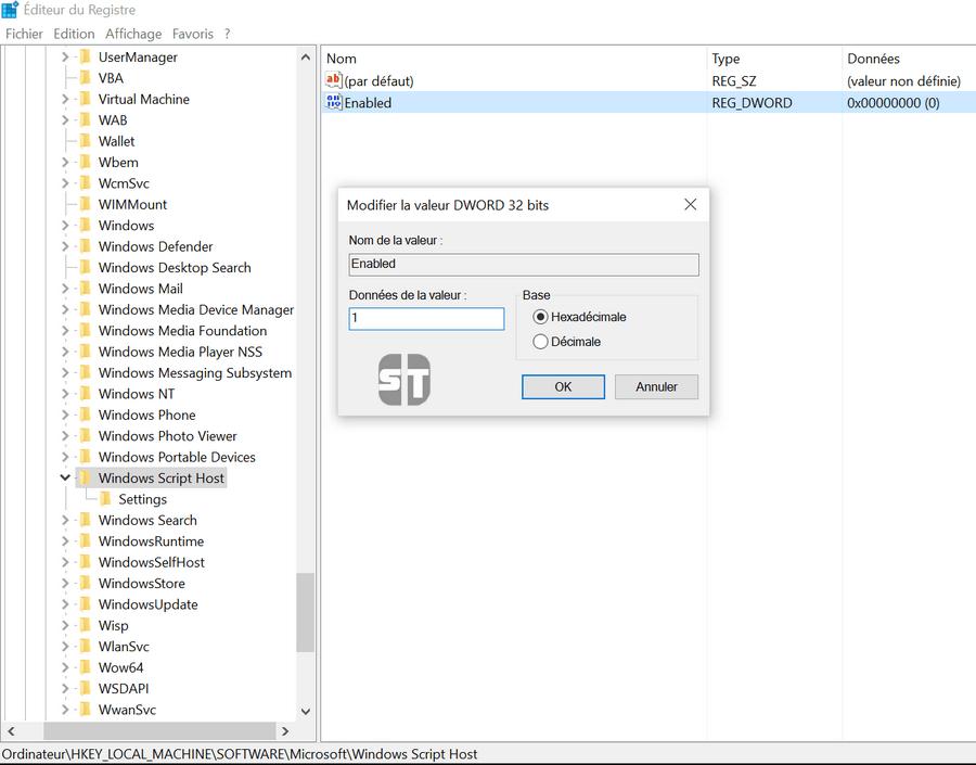 RegEdit Windows Script Host Comment activer l'accès à Windows Script Host sur Windows 10/8/7