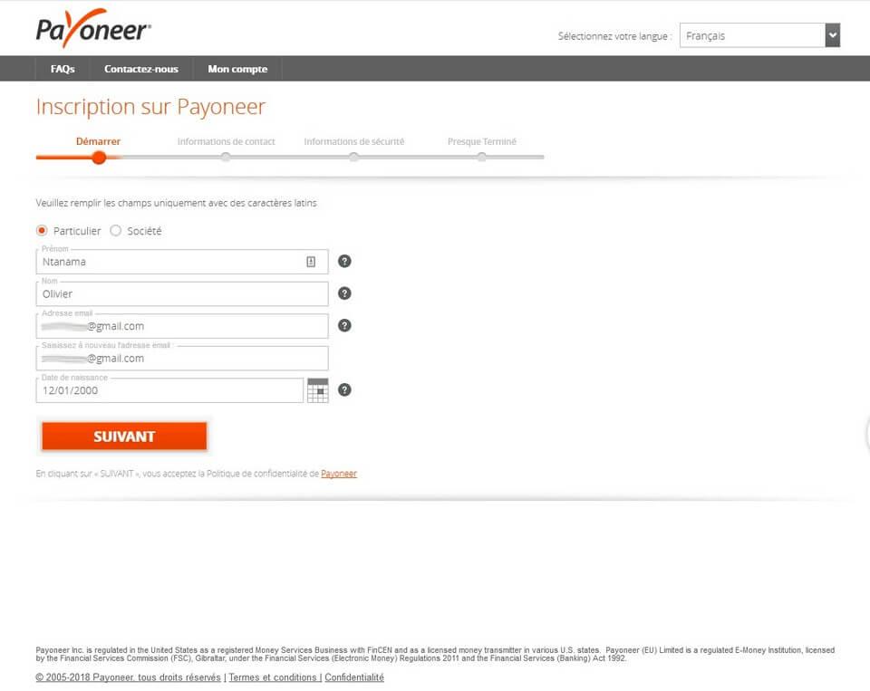 inscription payoneer en cours 1 Comment ouvrir un compte Payoneer en Afrique + 25$ gratuit