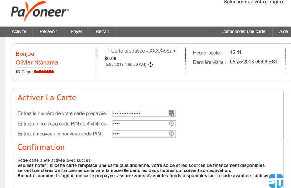 activation carte Guide 3 Payoneer: Comment activer ma carte MasterCard Payoneer