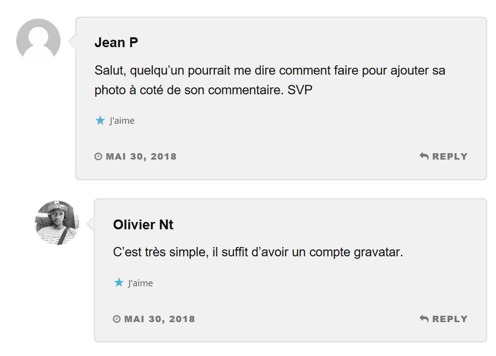 commentaires avec avatar Gravatar – Comment afficher votre photo sur votre commentaire sur un blog