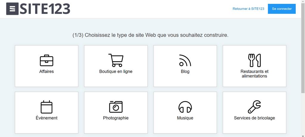 Type de site web sur Site123 1024x463 Voici comment créer un site web gratuit sans savoir coder  HTML & CSS, PHP