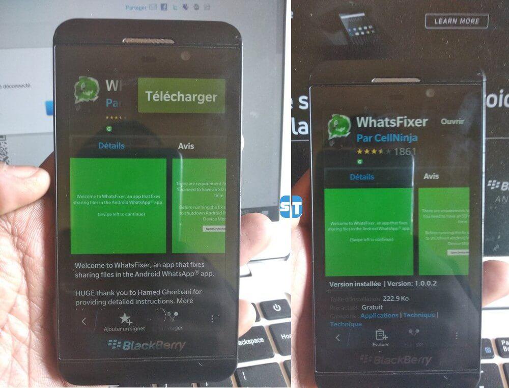 telecharger WhatsFixer blackberry Télécharger WhatsFixer pour BlackBerry 10 pour fixer le problème d'envoie des photos