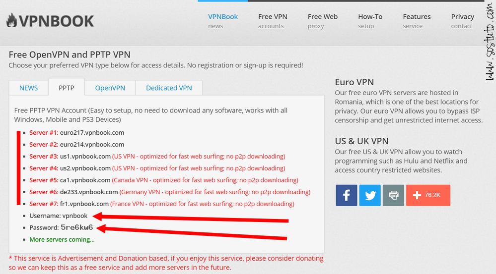 VPNBook VPN Gratuits PPTP Comment se Connecter à un serveur VPN GRATUIT sur Windows & Android sans logiciel