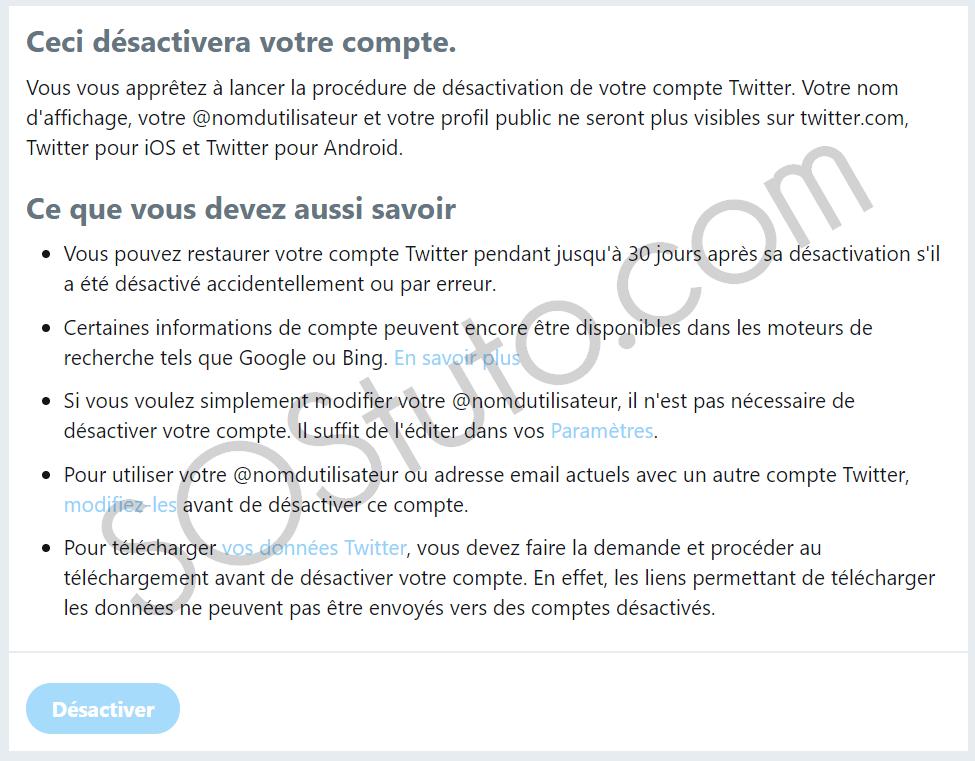 confirmer desactivation compte twitter Comment supprimer un compte Twitter sur Android, iPhone ou PC en 2019