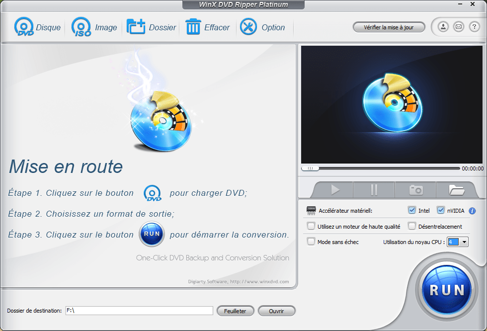 Interface WinX DVD Ripper Platinum Tuto : Comment Convertir un DVD en MP4 en 3 Étapes Faciles