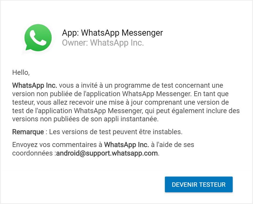 devenir testeur WhatsApp Comment Avoir WhatsApp Beta APK avec & sans s'inscrire au programme Bêta