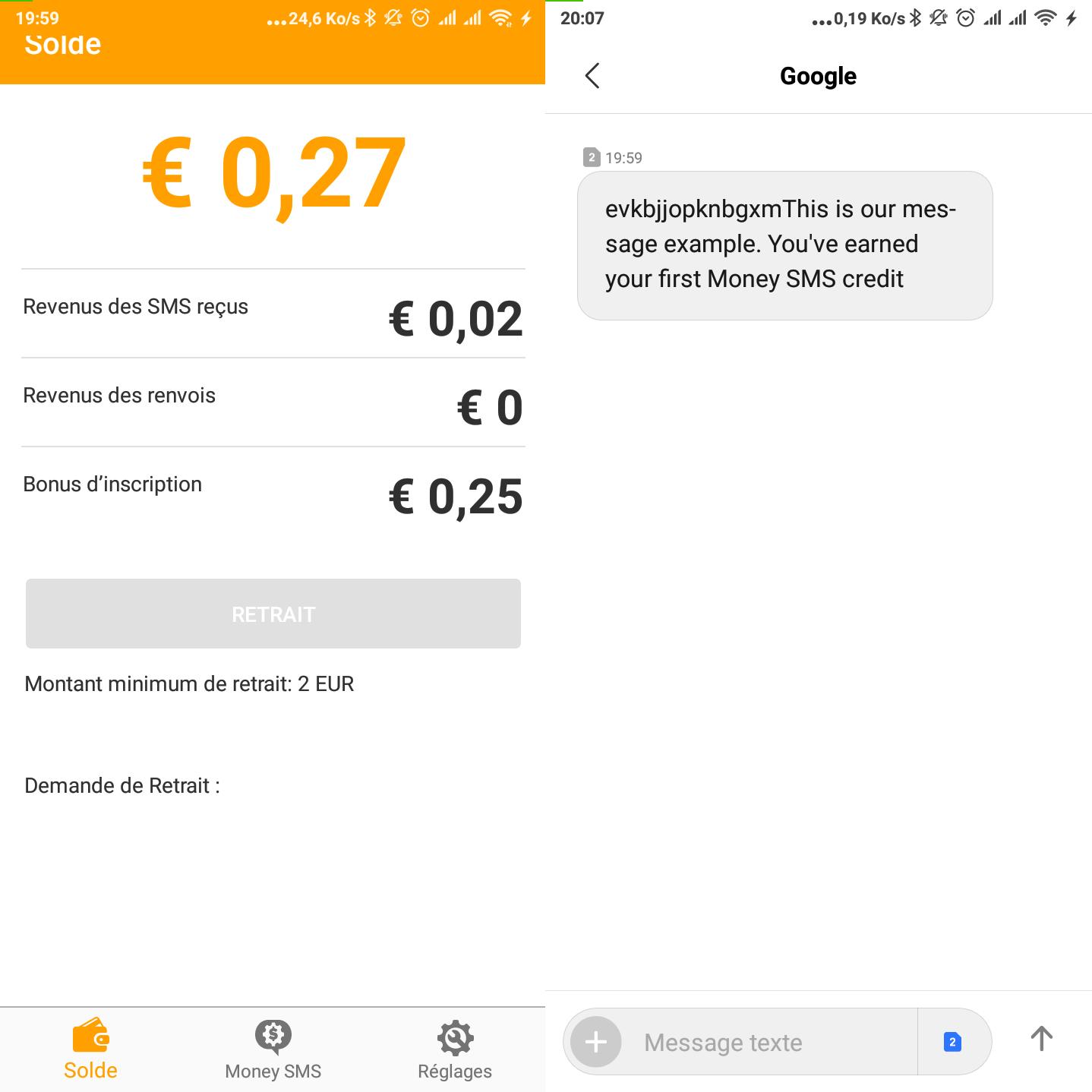 Money SMS Interface Money SMS avis – Gagner de l'Argent en Recevant les SMS Rémunérés