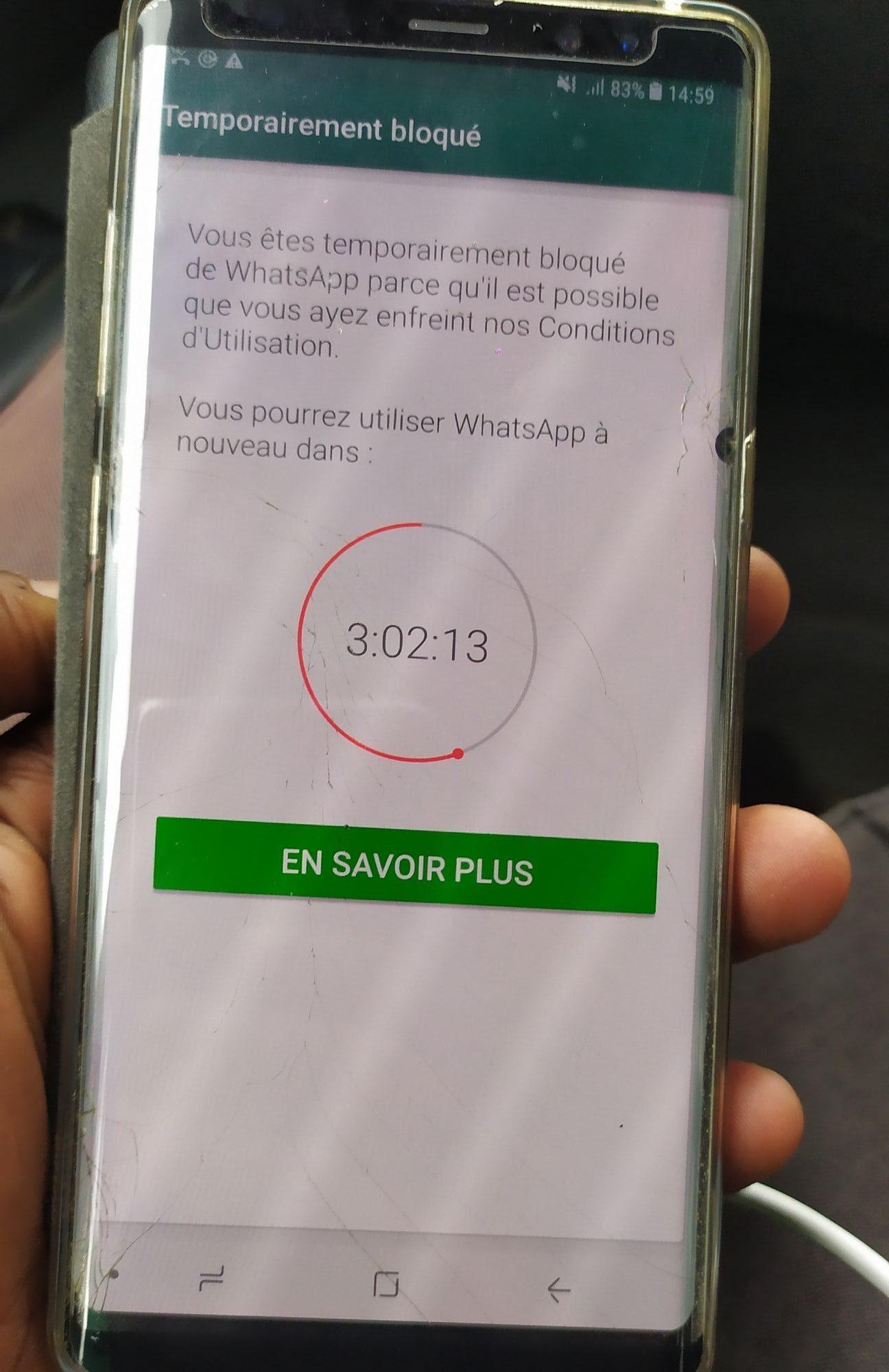WhatsApp temporairement bloqué e1559260801119 Comment Débloquer un Compte WhatsApp Temporairement Bloqué